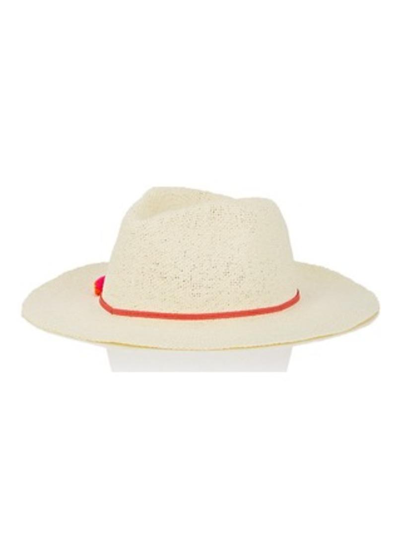 Barneys New York Women's Pom-Pom-Detailed Paper Hat - Red