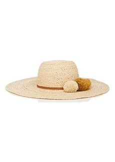Barneys New York Women's Pom-Pom-Detailed Wide-Brim Raffia Hat