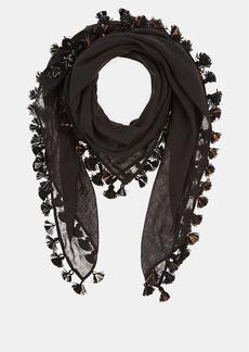 Barneys New York Women's Pom-Pom-Embellished Gauze Scarf - Black