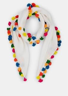 Barneys New York Women's Pom-Pom-Embellished Gauze Scarf - Ivory /Neon multi poms