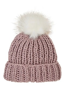Barneys New York Women's Pom-Pom-Embellished Wool-Blend Hat - Rose