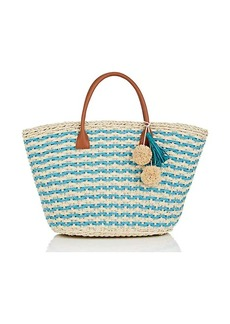 Barneys New York Women's Provence Small Straw Tote Bag - Turquoise
