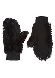 Barneys New York Women's Rabbit Fur & Cashmere Mittens - Black