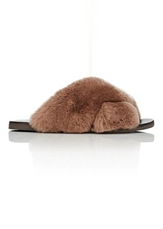 Barneys New York Women's Rabbit Fur Crisscross-Strap Slide Sandals