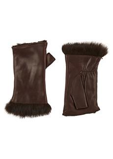 Barneys New York Women's Rabbit-Fur-Lined Leather Fingerless Gloves