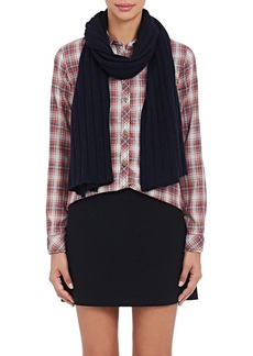Barneys New York Women's Rib-Knit Cashmere-Silk Scarf - Navy