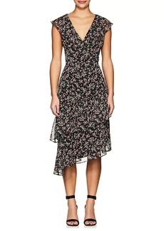 Barneys New York Women's Ruffle Floral V-Neck Dress