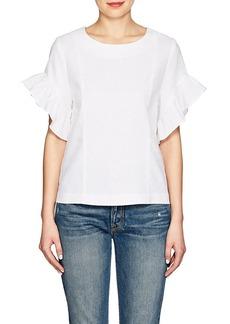 Barneys New York Women's Ruffle Linen-Blend Blouse