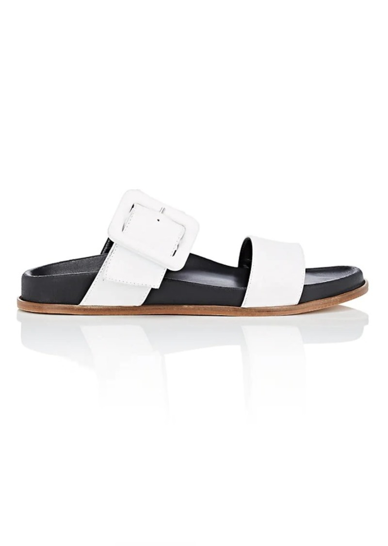Barneys New York Women's Leather Double-Band Slide Sandals