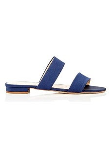 Barneys New York Women's Satin Double-Band Slide Sandals