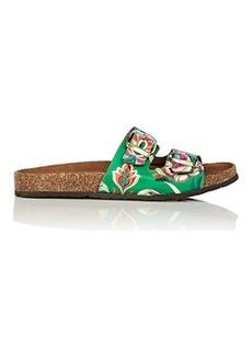 Barneys New York Women's Satin Jacquard Slide Sandals
