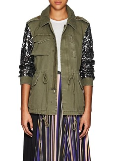 Barneys New York Women's Sequined-Sleeve Cotton Twill Military Jacket