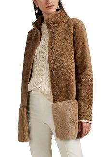 Barneys New York Women's Shearling Peplum Coat