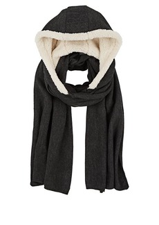 Barneys New York Women's Sherpa-Lined Hooded Scarf - Charcoal