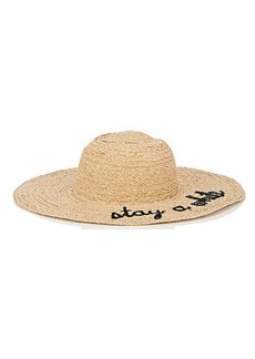 "Barneys New York Women's ""Stay A While"" Raffia Wide-Brim Hat - Black"