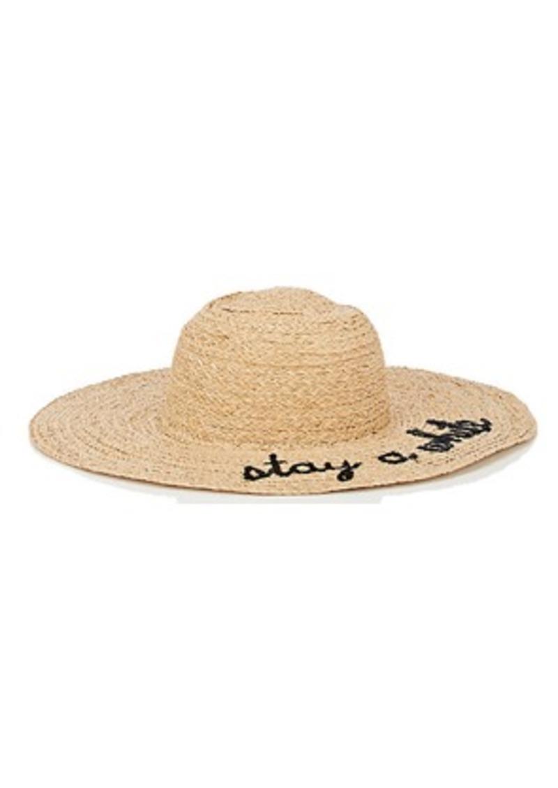 "Barneys New York Women's ""Stay A While"" Raffia Wide-Brim Hat - Black"