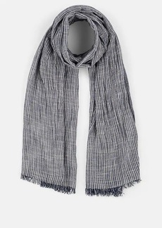 Barneys New York Women's Striped Cotton-Blend Scarf - White Denim