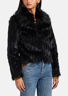 Barneys New York Women's Striped Faux-Fur Crop Jacket