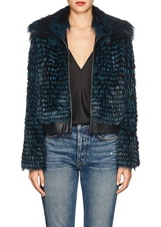 Barneys New York Women's Striped Fox Fur & Leather Bomber Jacket