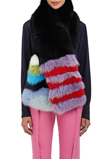 Barneys New York Women's Striped Fox-Fur Scarf - Black
