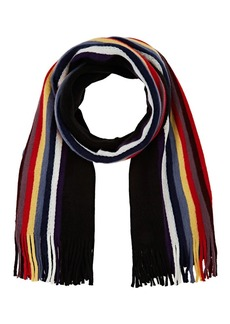 Barneys New York Women's Striped Fringed Scarf - Black