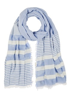 Barneys New York Women's Striped Gauze Oversized Scarf - Blue