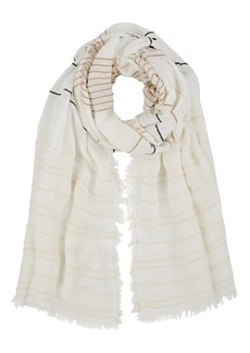 Barneys New York Women's Striped Gauze Scarf - Ivorybone