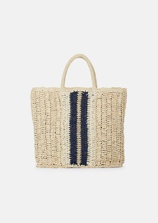 Barneys New York Women's Striped Raffia Tote Bag - Neutral