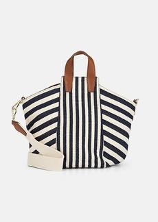 Barneys New York Women's Striped Small Twill Tote Bag - Navy