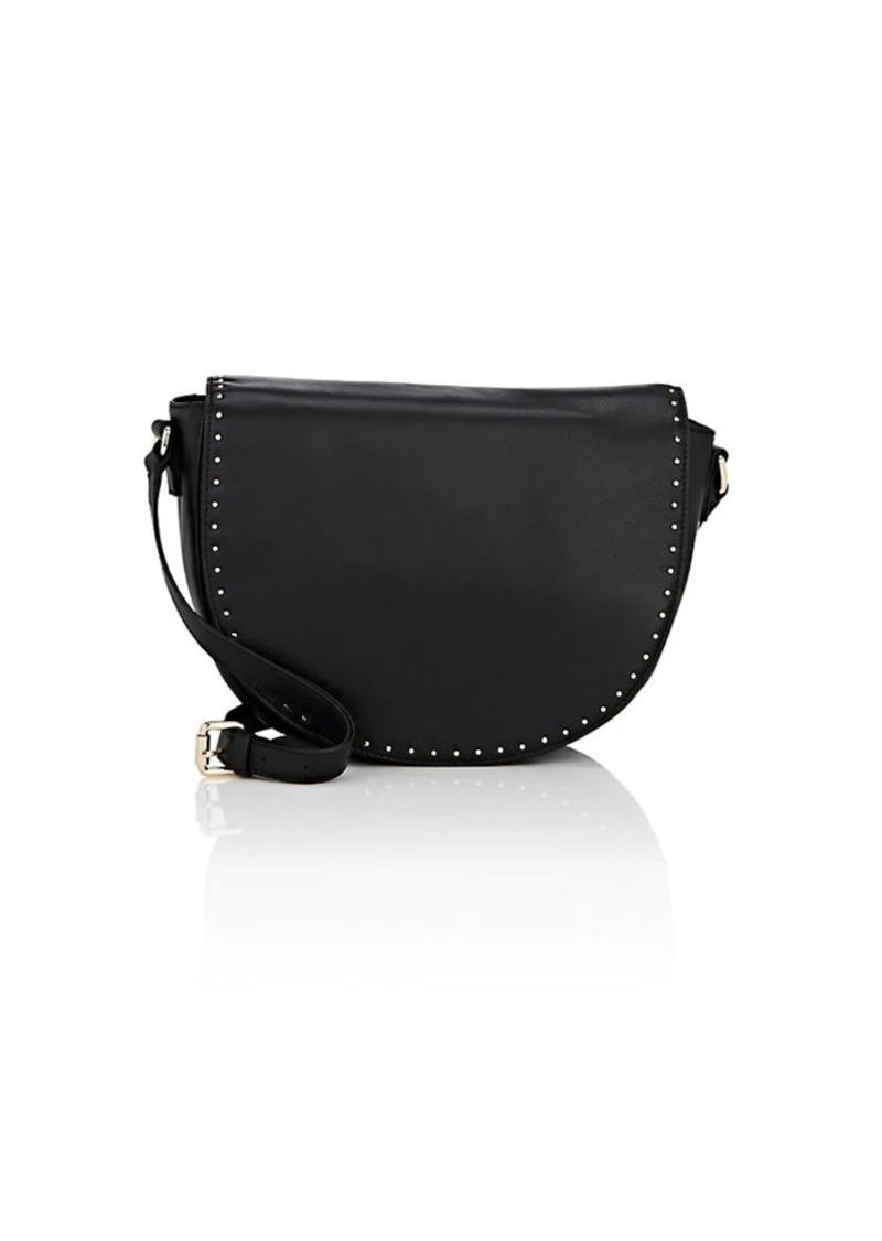 Barneys New York Women's Studded Leather Saddle Bag - Black