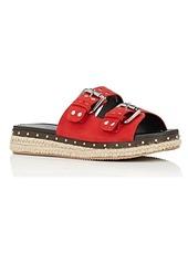 Barneys New York Women's Studded Suede Espadrille Slide Sandals