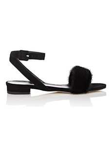 Barneys New York Women's Suede & Fur Ankle-Wrap Sandals