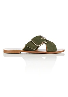 Barneys New York Women's Suede Crisscross-Strap Slide Sandals