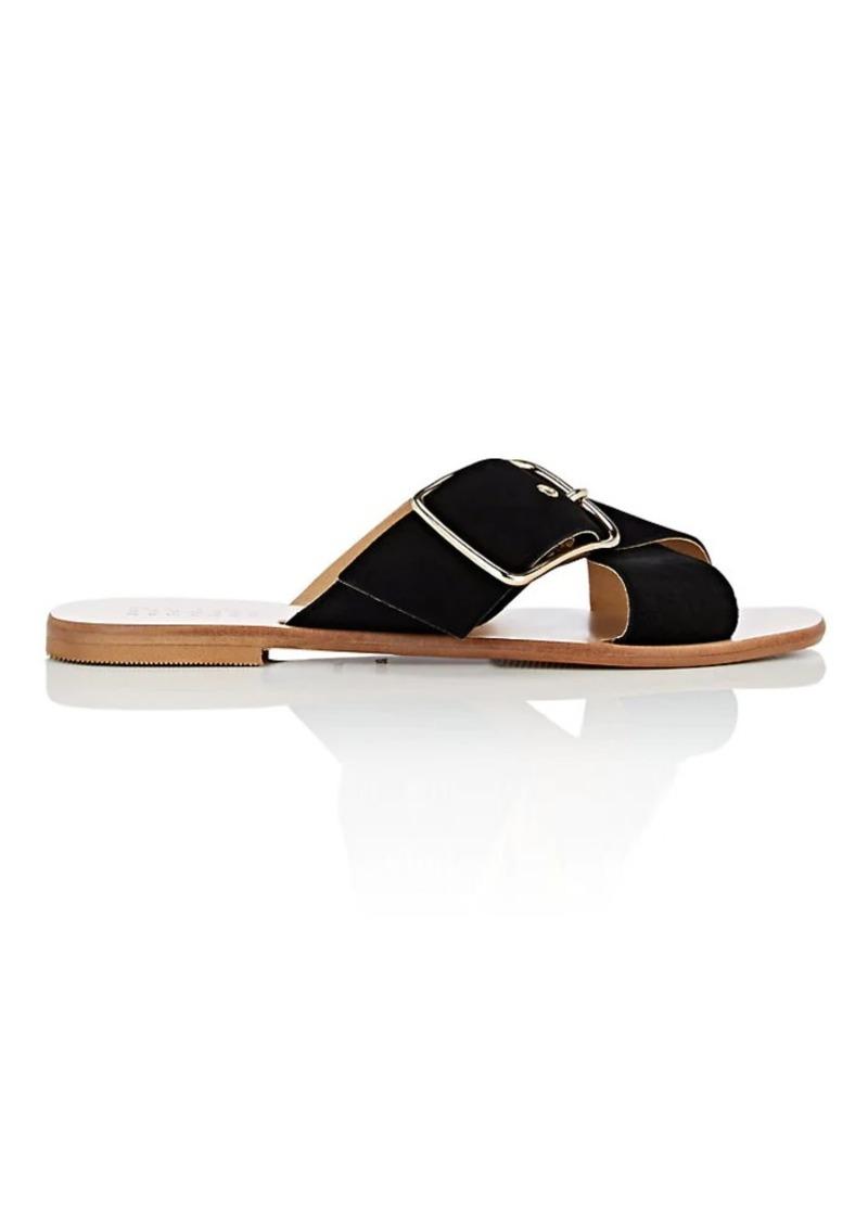 Barneys New York Women's Suede Crisscross-Strap Slide Sandals