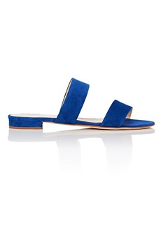 Barneys New York Women's Suede Double-Band Slide Sandals