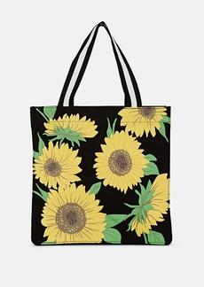 Barneys New York Women's Sunflower-Print Cotton Canvas Tote Bag - Black