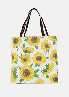 Barneys New York Women's Sunflower-Print Cotton Canvas Tote Bag - White