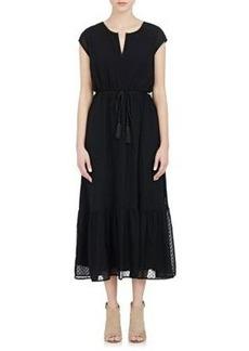 Barneys New York Women's Swiss Dot Crepe Long Dress