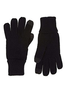 Barneys New York Women's Tech-Smart Stockinette-Stitched Gloves - Black