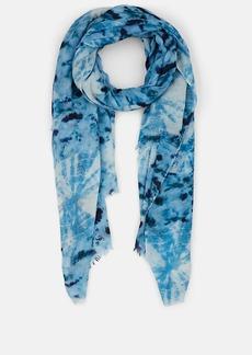 Barneys New York Women's Tie-Dyed Plain-Weave Blanket Scarf - Blue Combo