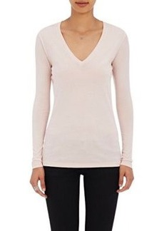 Barneys New York Women's V-Neck Long-Sleeve T-Shirt-Pink Size S
