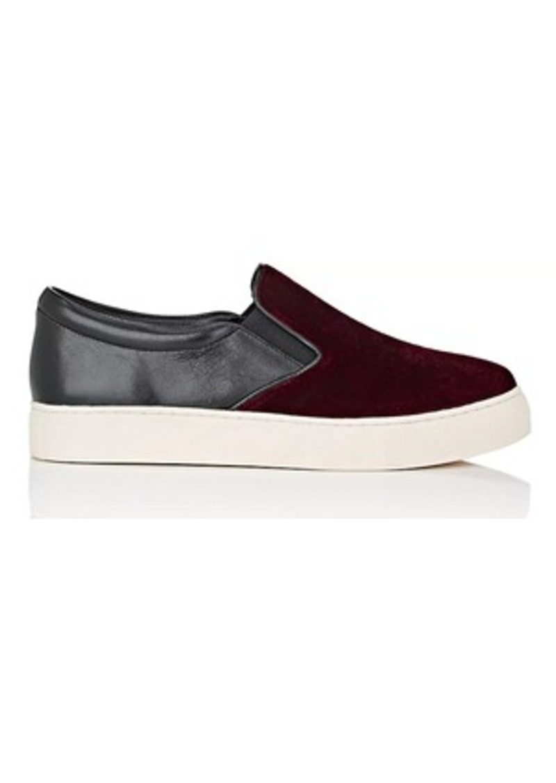 Barneys New York Women's Velvet & Leather Slip-On Sneakers
