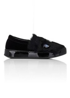 Barneys New York Women's Velvet & Rabbit Fur Slip-On Sneakers