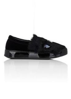 Barneys New York Women's Velvet & Rabbit Fur Slip-On Sneakers