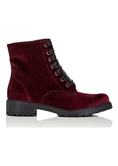 Barneys New York Women's Velvet Lace-Up Ankle Boots