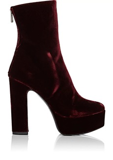 Barneys New York Women's Velvet Platform Ankle Boots