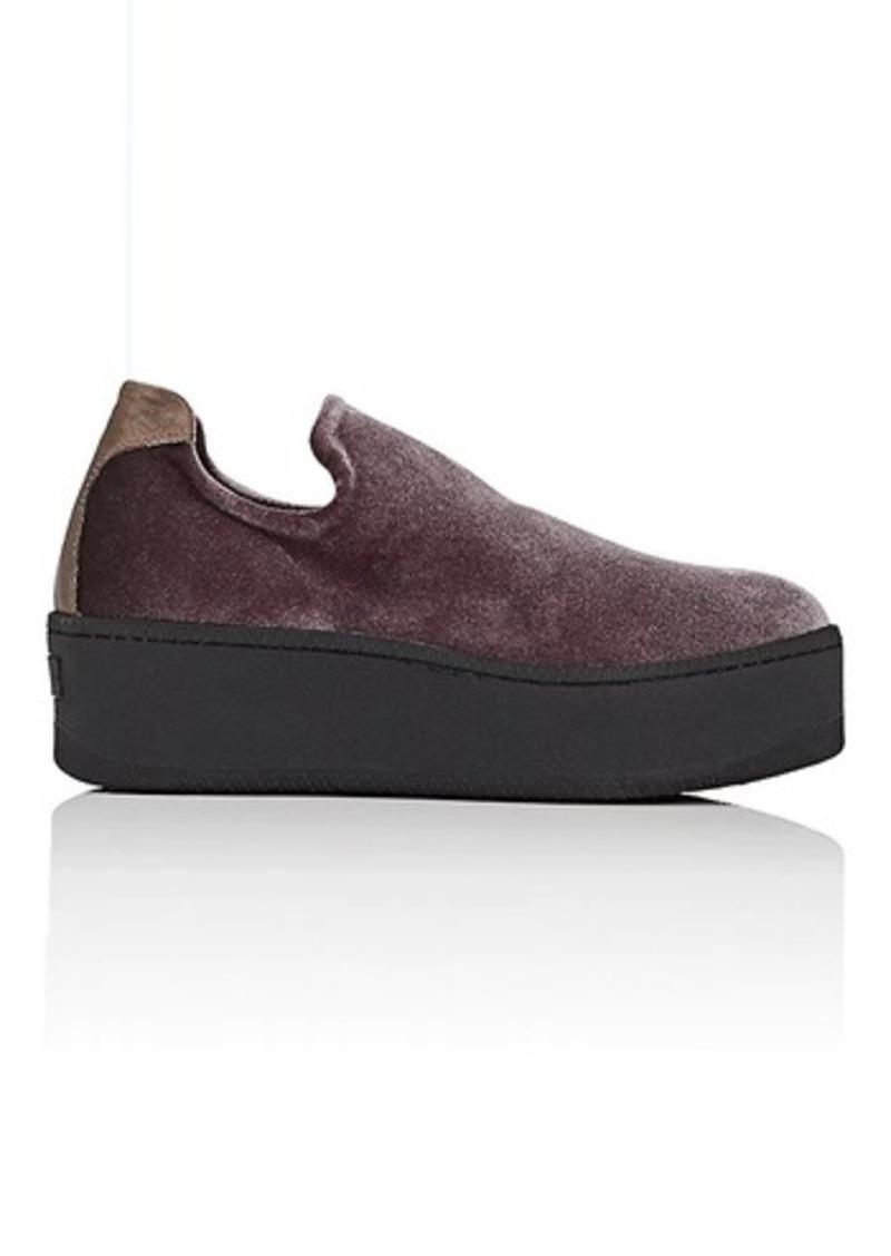 Des Femmes Des Glisser Sur Le Velours Et Cuir Chaussures De Sport Barneys New York X3XW43boE8