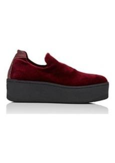 Barneys New York Women's Velvet Platform Slip-On Sneakers