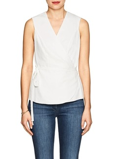 Barneys New York Women's Washed Plain-Weave Wrap Blouse