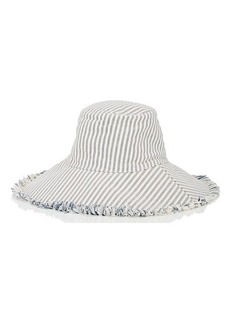 Barneys New York Women's Wide-Brim Striped Cotton Sun Hat - Blue